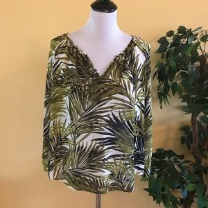 Ann Taylor Long Sleeve Sheer Blouse Palm Leaves